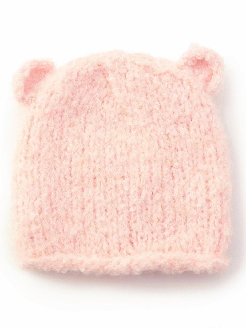 SHIPS KIDS GREVI:耳付きベビーニットキャップ シップス 帽子/ヘア小物 ニット帽/ビーニー ピンク ホワイト【送料無料】