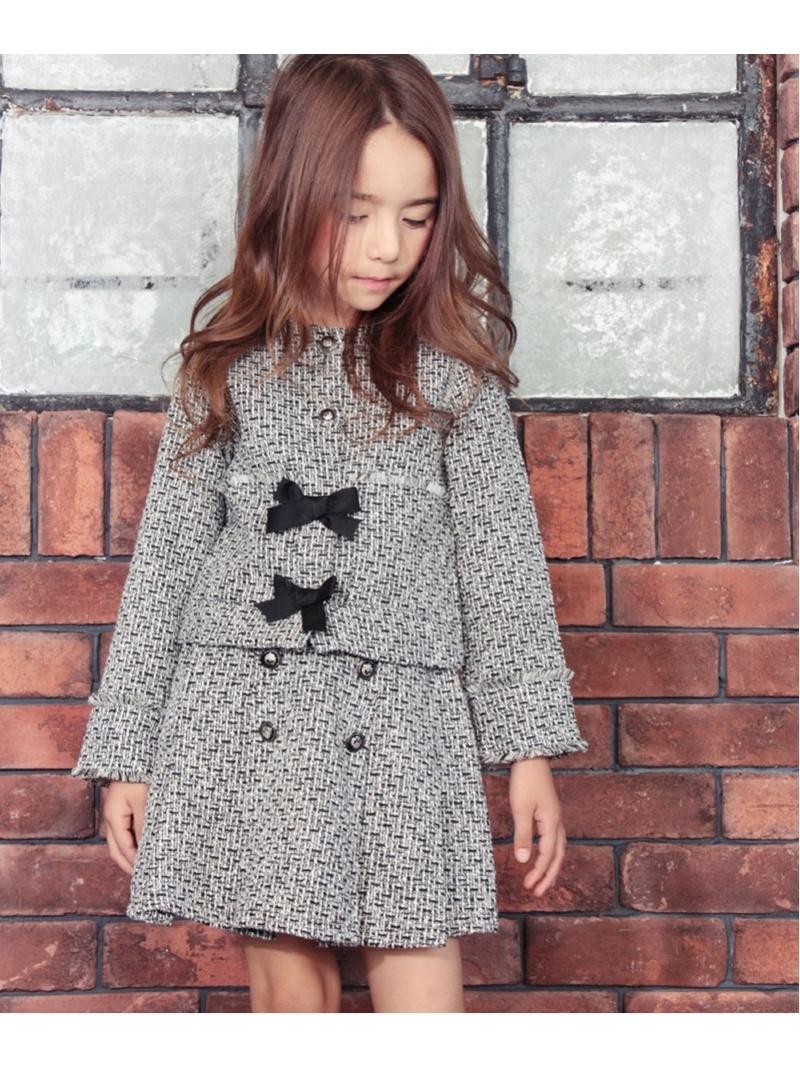 Rora ツイード スカート&ジャケット 上下セット ローラ カットソー キッズカットソー ブラック【送料無料】