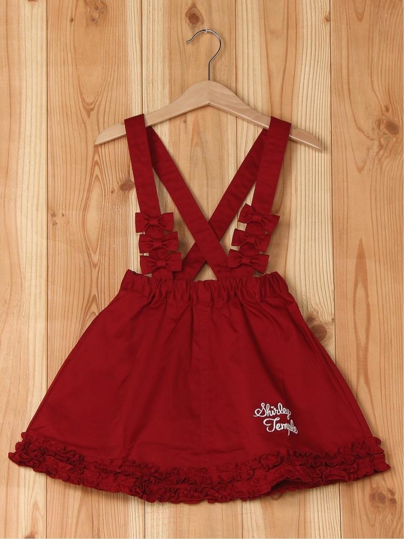 ShirleyTemple リボン使い裾フリルスカート シャーリーテンプル スカート キッズスカート レッド ピンク【送料無料】