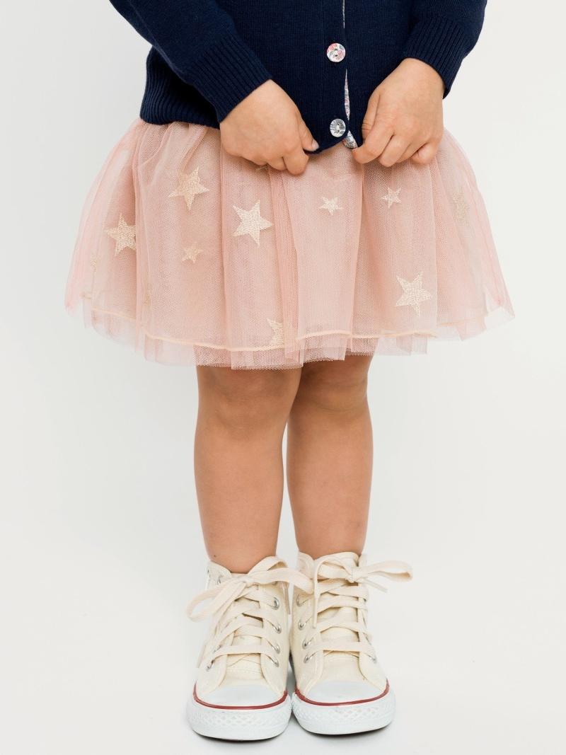 SHIPS KIDS SHIPSKIDS:スターチュールスカート(90cm) シップス スカート ロングスカート ピンク グリーン【送料無料】