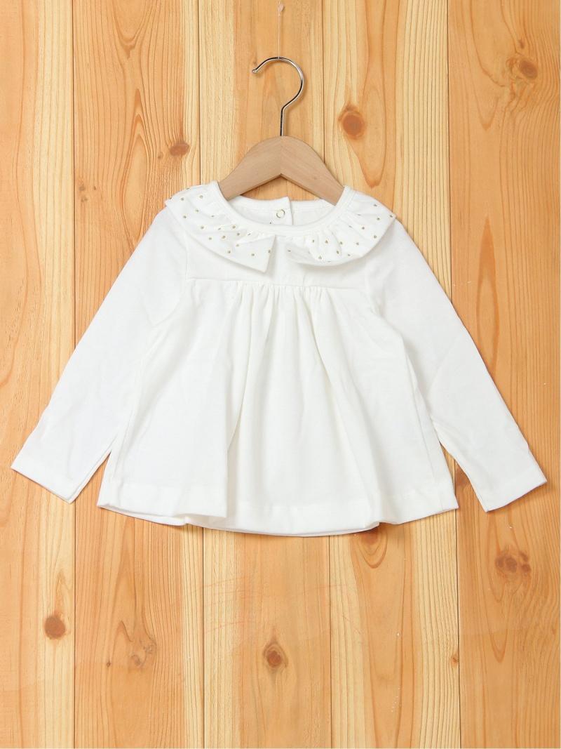 PETIT BATEAU (K)衿付きブラウス プチバトー カットソー キッズカットソー ホワイト【送料無料】