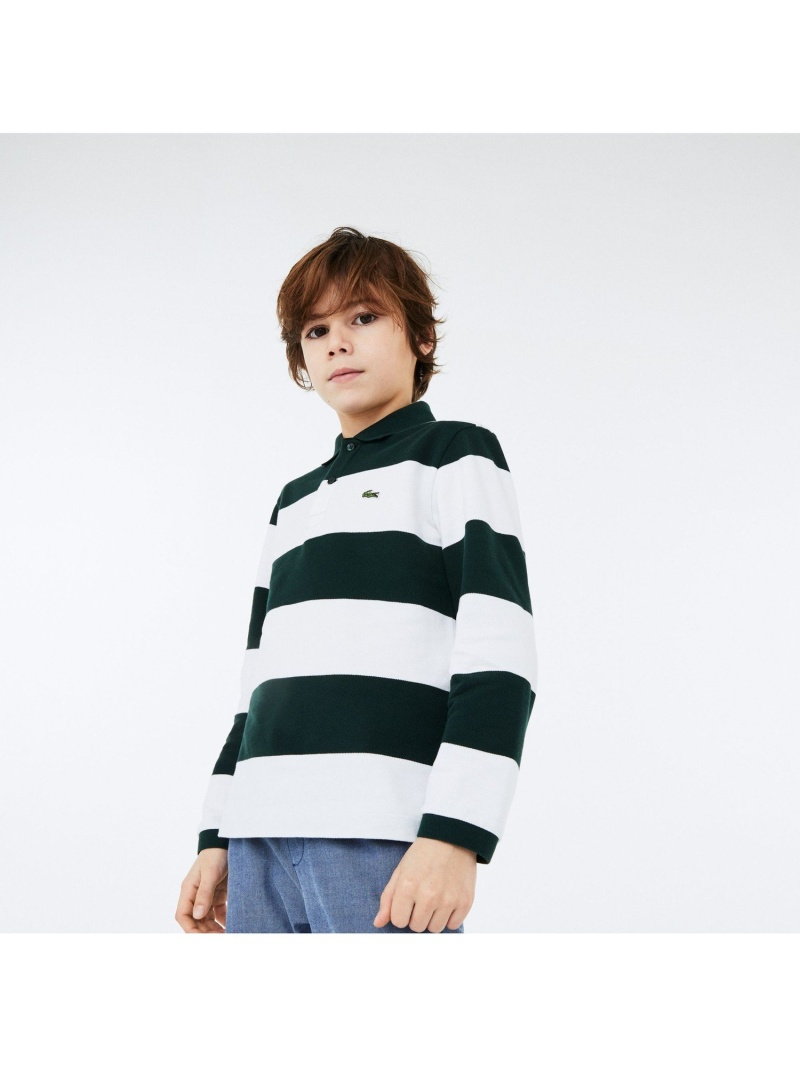 <title>LACOSTE キッズ カットソー ラコステ アウトレット BOYSソフトストライプポロシャツ ポロシャツ 送料無料</title>