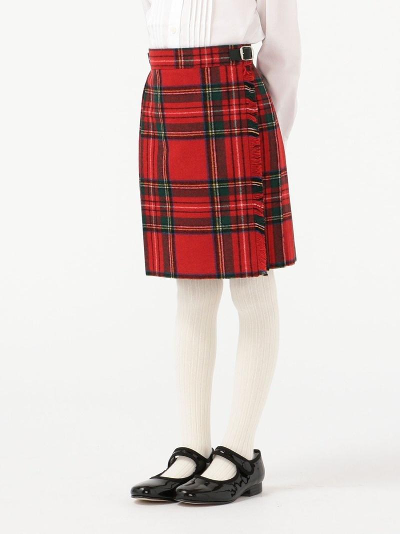 SHIPS KIDS O'NEILOFDUBLIN:ウールキルトスカート(100~130cm) シップス スカート ロングスカート レッド グリーン【送料無料】