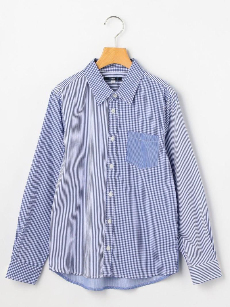 SHIPS KIDS SHIPSKIDS:マルチストライプレギュラーシャツ(145~160cm) シップス カットソー Tシャツ ブルー【送料無料】