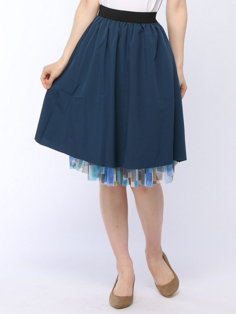 W.W.G 花纹网丝2WAY裙子朋友集团奥特莱斯裙子