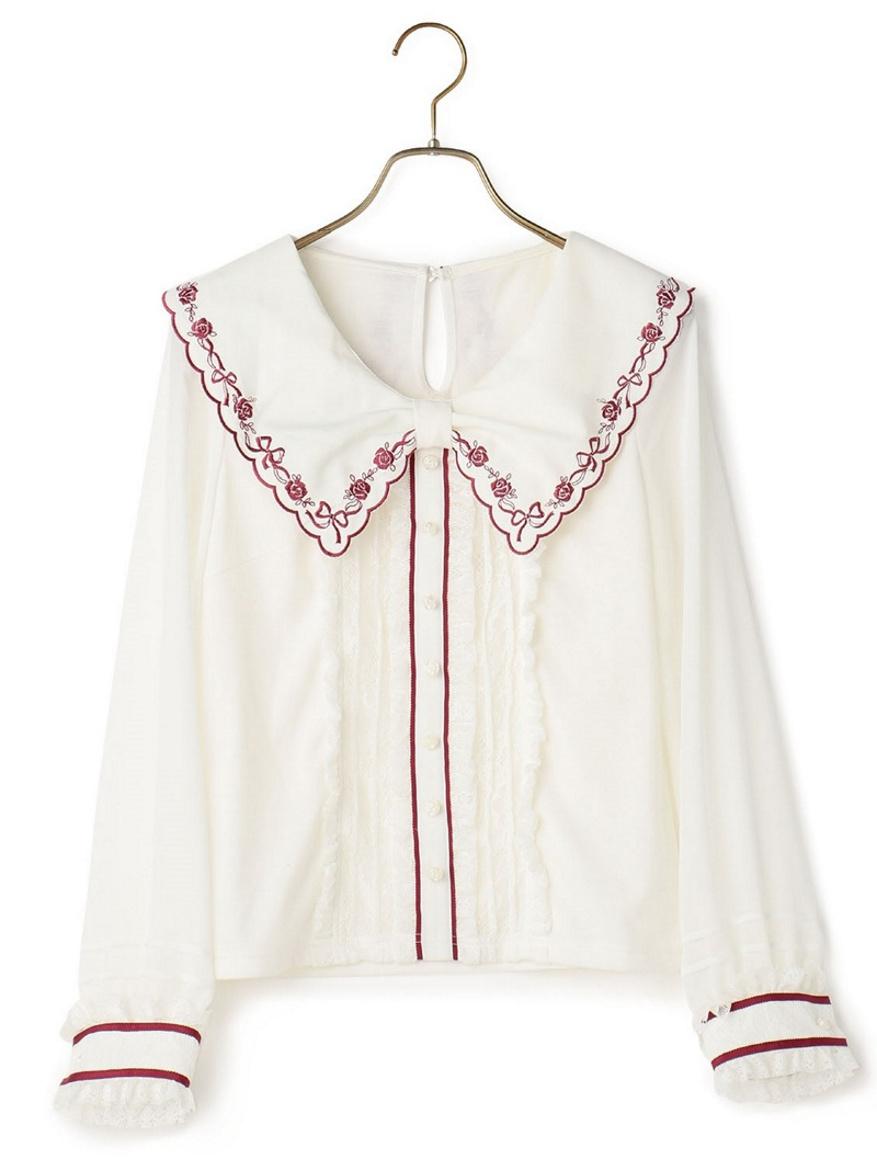 LIZ LISA玫瑰花刺绣cut顶端*LIZ LISA衬衫/女衬衣
