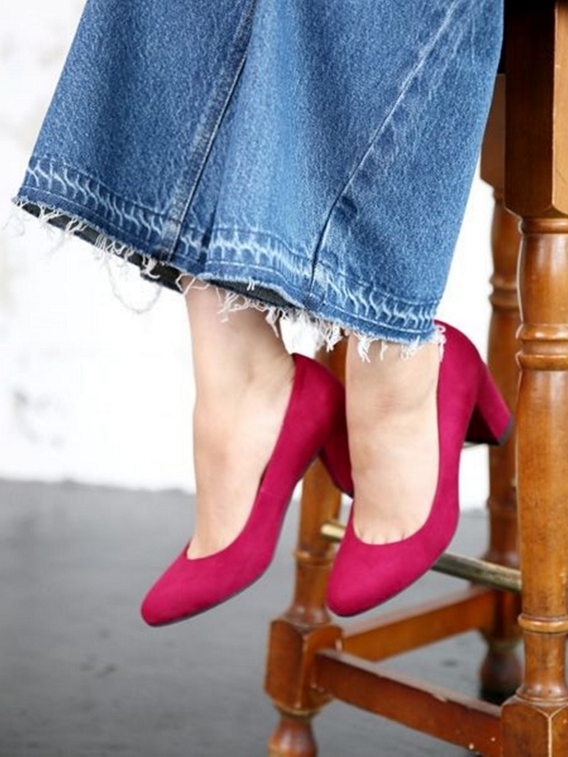 LOWRYS FARM鞋跟女用浅口无扣无带皮鞋罗利农场鞋