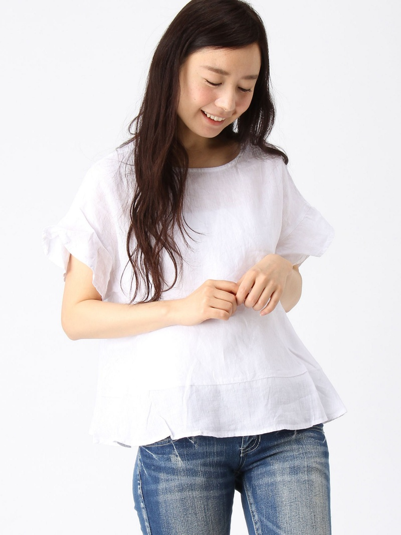 LEPSIM LOWRYS FARM法式亚麻布喇叭形BL/SS repushiimurorizufamushatsu/女衬衣