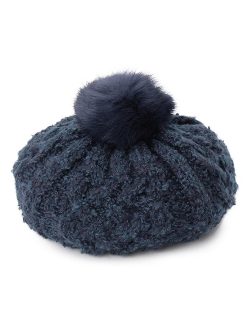 OZOC 毛皮与电缆编织贝雷帽帽子 ozoc