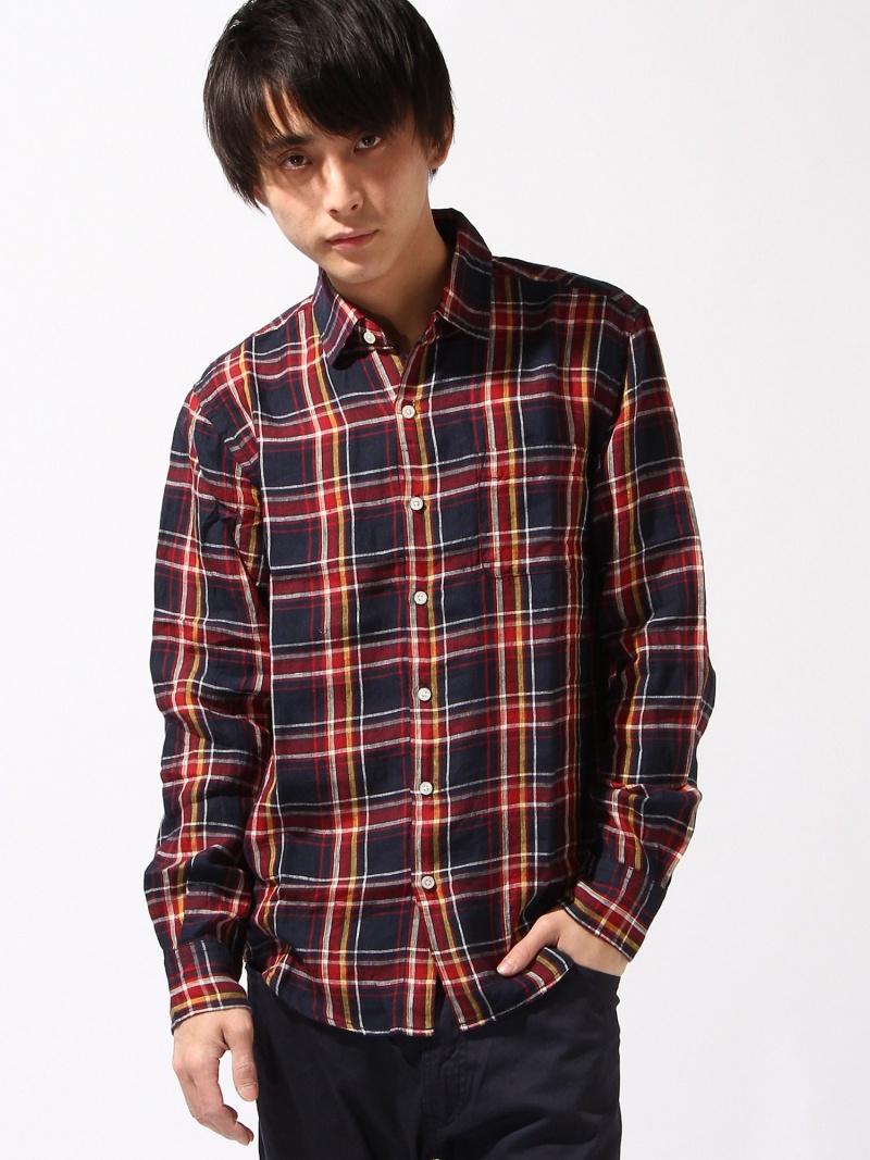 GLOBAL WORK(M)法式亚麻布CH衬衫全球化工作衬衫/女衬衣