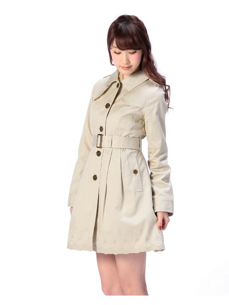 LIZ LISA海扇刺绣双排扣有腰带的短外衣LIZ LISA大衣/茄克