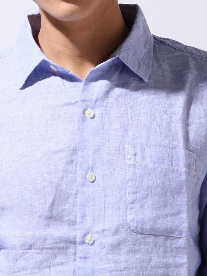 GLOBAL WORK(M)法式亚麻布衬衫LS全球化工作衬衫/女衬衣