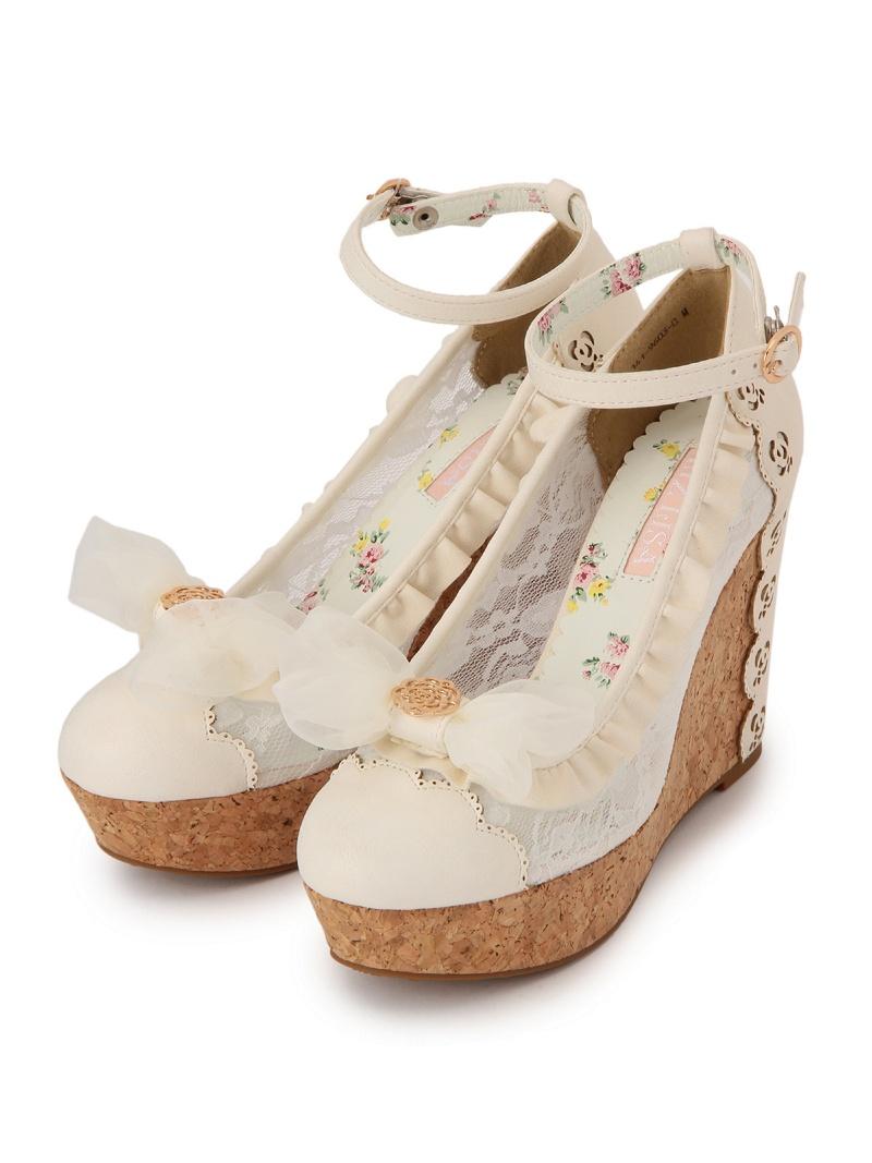 LIZ LISA比赛楔子女用浅口无扣无带皮鞋LIZ LISA鞋