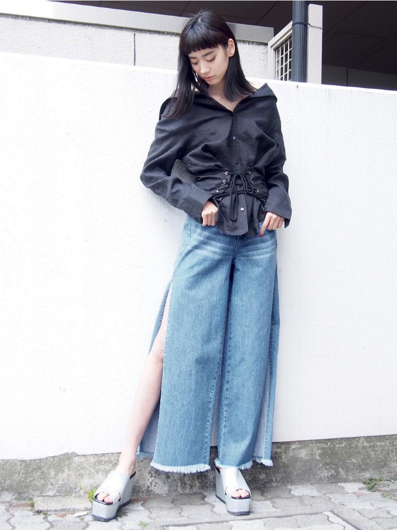 EMODA DEEP SLIT waidodenimuemodapantsu/牛仔裤