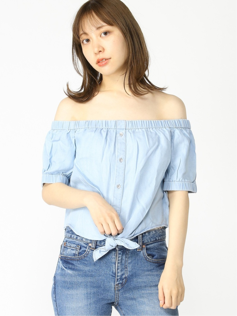 GUESS Womens Bleached Tie Front Shirt
