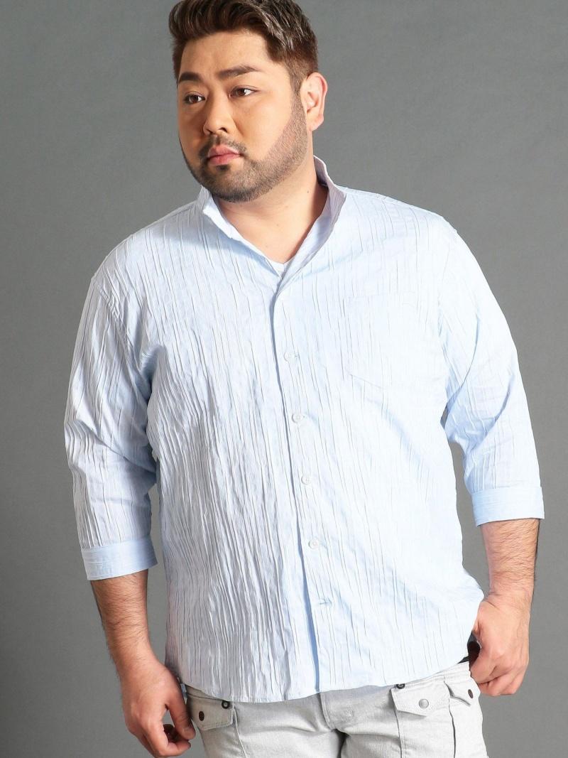 HIDEAWAYS(大きいサイズ) <大きいサイズ>市松柄イタリアンカラー7分袖シャツ ニコル シャツ/ブラウス 七分袖シャツ ブルー ホワイト ネイビー パープル【送料無料】