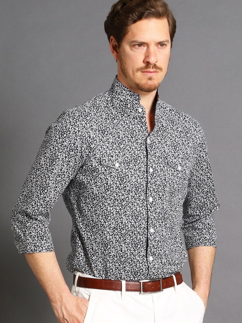 MONSIEUR NICOLE スタンドカラー小花柄7分袖シャツ ニコル シャツ/ブラウス【送料無料】