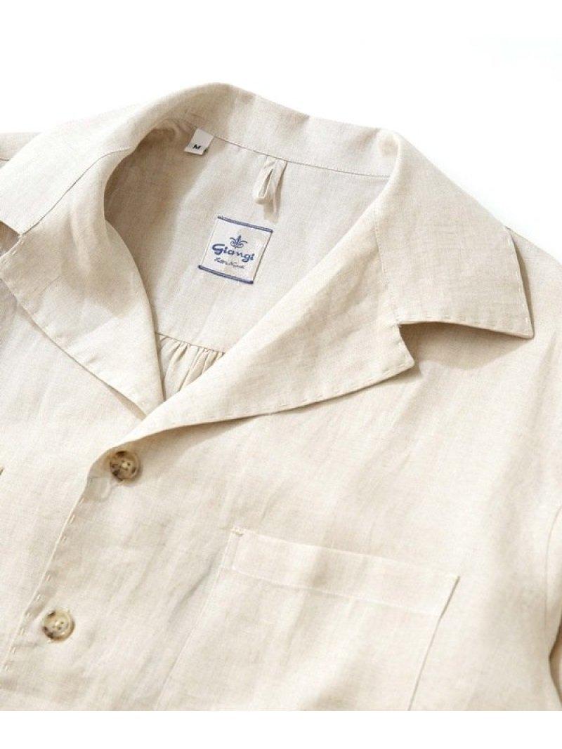 【SALE/30%OFF】GIANGI オープンカラーリネンシャツジャケット ナノユニバース シャツ/ブラウス シャツ/ブラウスその他 ベージュ ブラック【RBA_E】【送料無料】