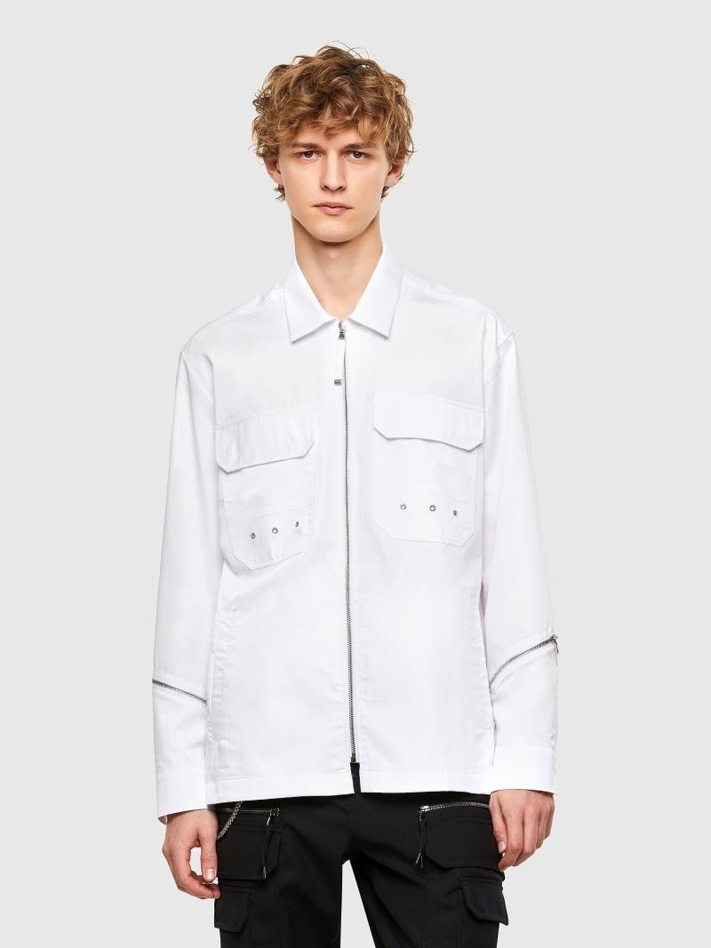 DIESEL S-KULT ディーゼル シャツ/ブラウス ワイシャツ ホワイト ブラック【送料無料】