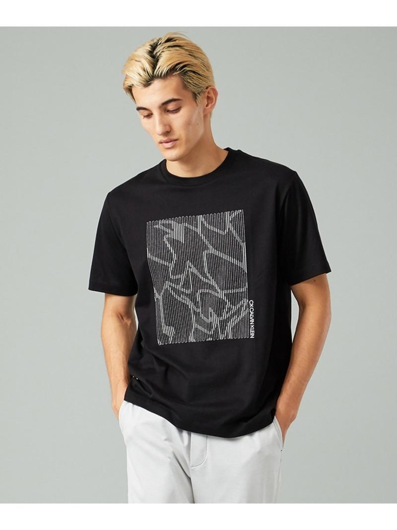 CK CALVIN KLEIN リニアエンブロイダリー Tシャツ CK カルバン・クライン カットソー Tシャツ ブラック ホワイト【送料無料】