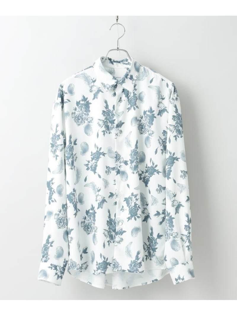 tk.TAKEO KIKUCHI フラワーフェザーオーバーサイズシャツ ティーケータケオキクチ シャツ/ブラウス シャツ/ブラウスその他 ホワイト ブラック【送料無料】
