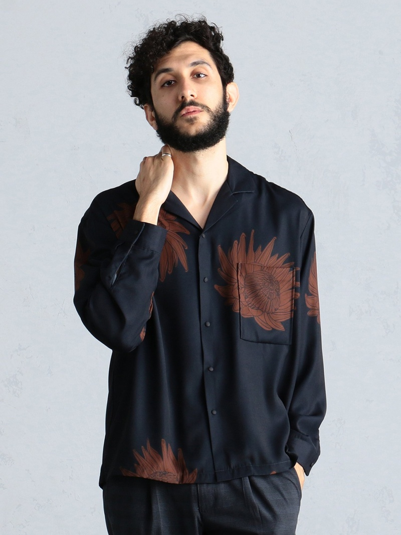 BEAMS LIGHTS BEAMS LIGHTS / プロテアプリント オープンカラーシャツ BEAMS ビームス 花柄 ビームスライツ シャツ/ブラウス 長袖シャツ ネイビー ブラウン【送料無料】