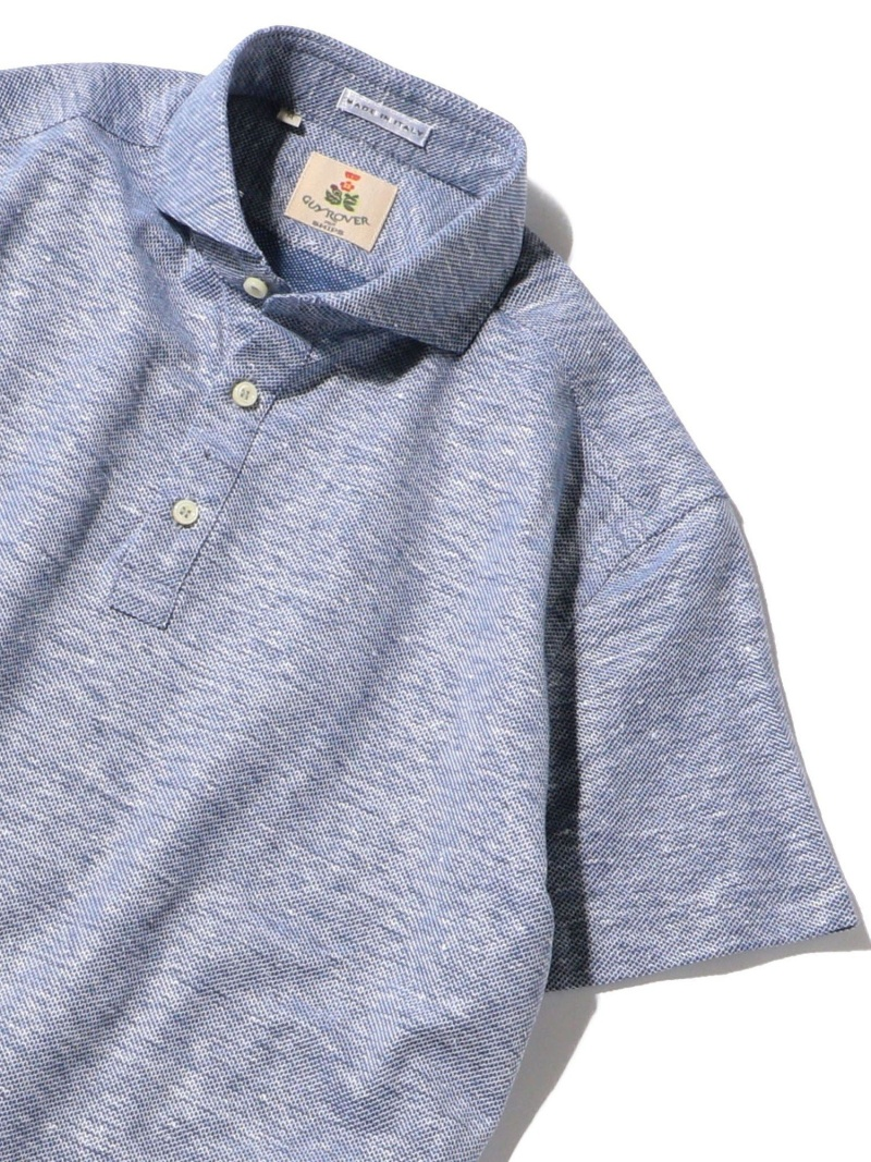 SHIPS GUYROVER:コットンリネンカッタウェイポロシャツ シップス シャツ/ブラウス ワイシャツ ブルー【送料無料】