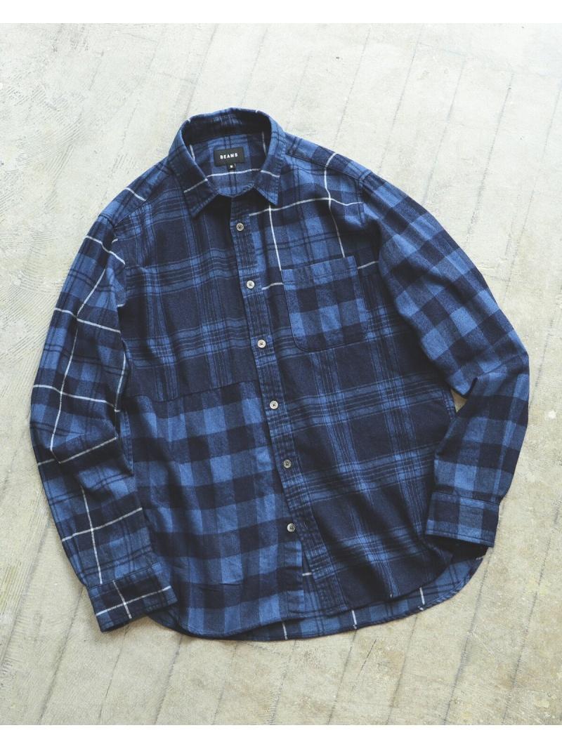 BEAMS MEN BEAMS / インディゴ クレイジーチェック ネルシャツ ビームス メン シャツ/ブラウス 長袖シャツ【先行予約】*【送料無料】