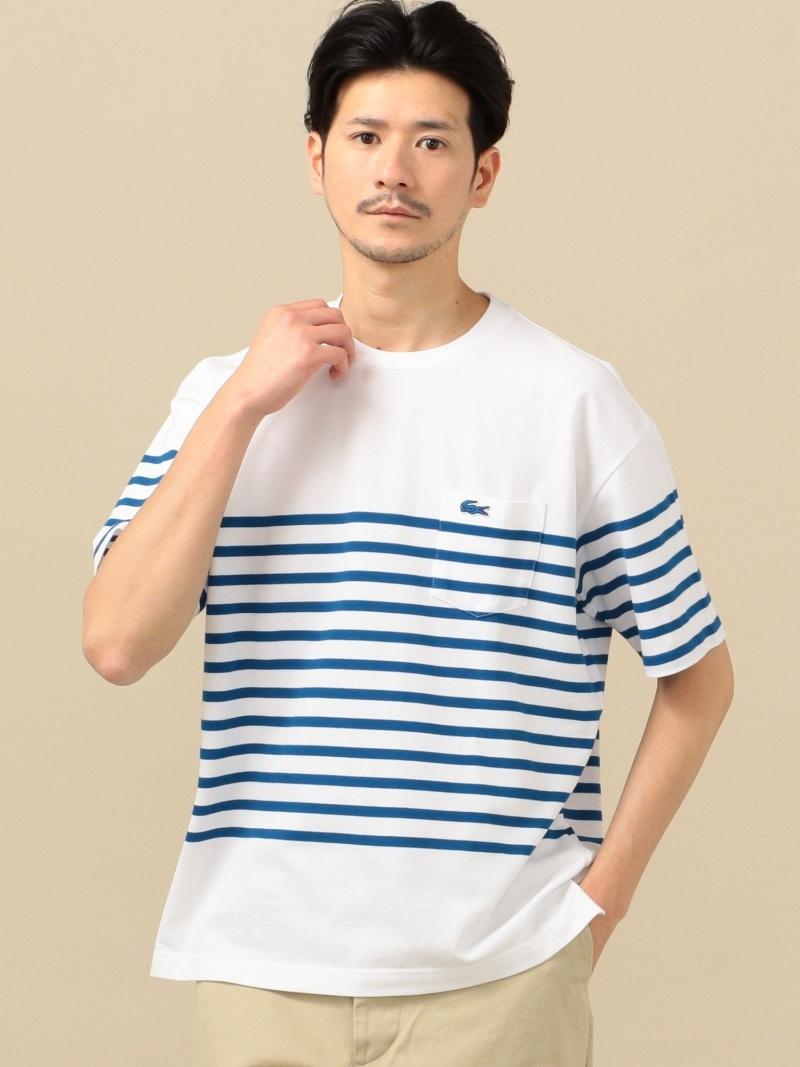 SHIPS LACOSTE:別注ドロップテイルポケットビッグTシャツ シップス カットソー Tシャツ ブルー ホワイト ネイビー【送料無料】