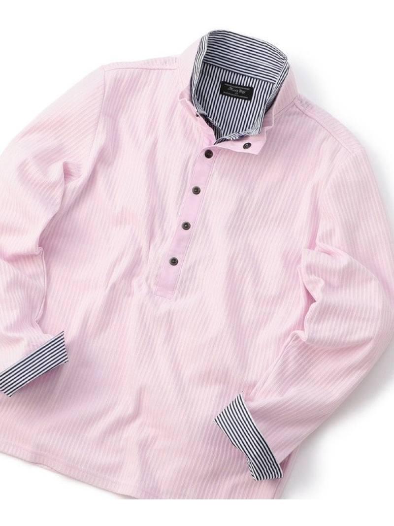 MEN'S BIGI 2枚襟フェイクレイヤードロングポロシャツbr メンズ ビギ カットソー Tシャツ ピンク ホワイト ネイビー【送料無料】