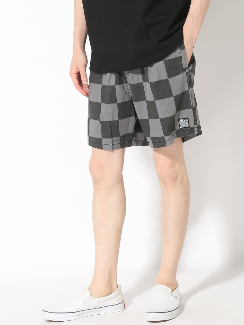 Deus ex Machina SANDBAR CHECKM8 デウスエクスマキナ パンツ/ジーンズ ショートパンツ ブラック ピンク【送料無料】