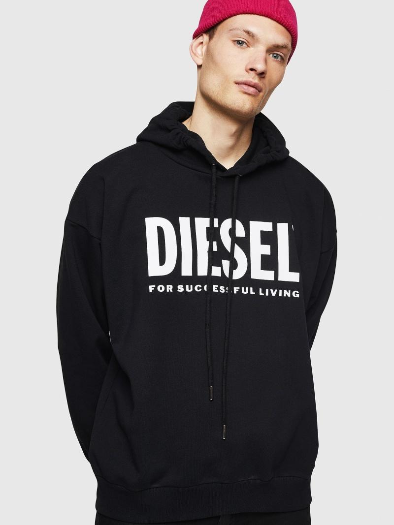 DIESEL S-DIVISION-LOGO ディーゼル カットソー スウェット ブラック ホワイト【送料無料】