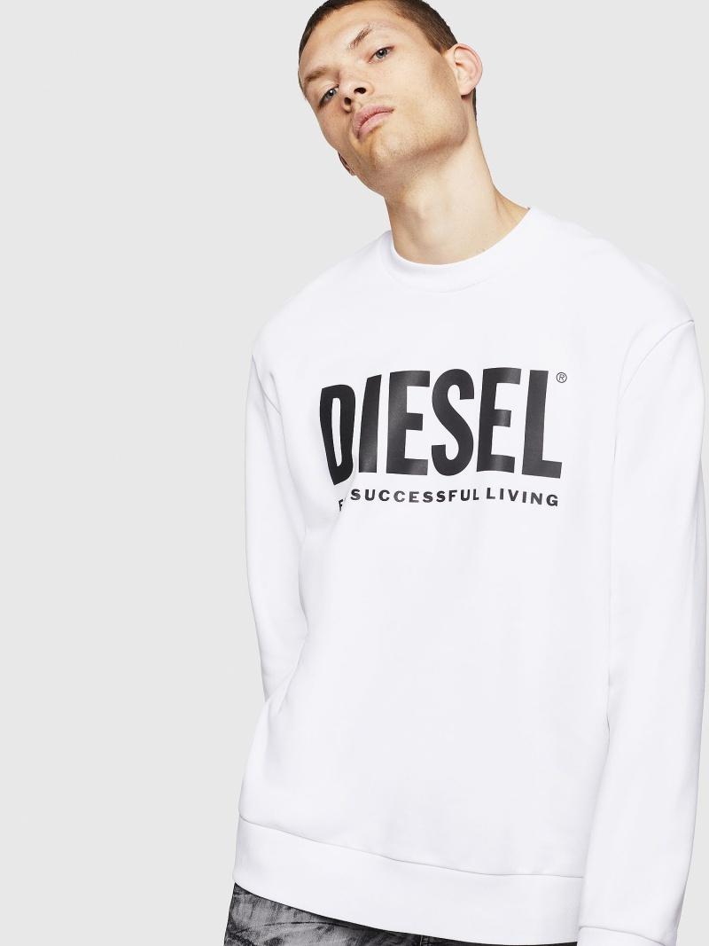 DIESEL S-CREW-DIVISION-LOGO ディーゼル カットソー スウェット ホワイト ブラック【送料無料】
