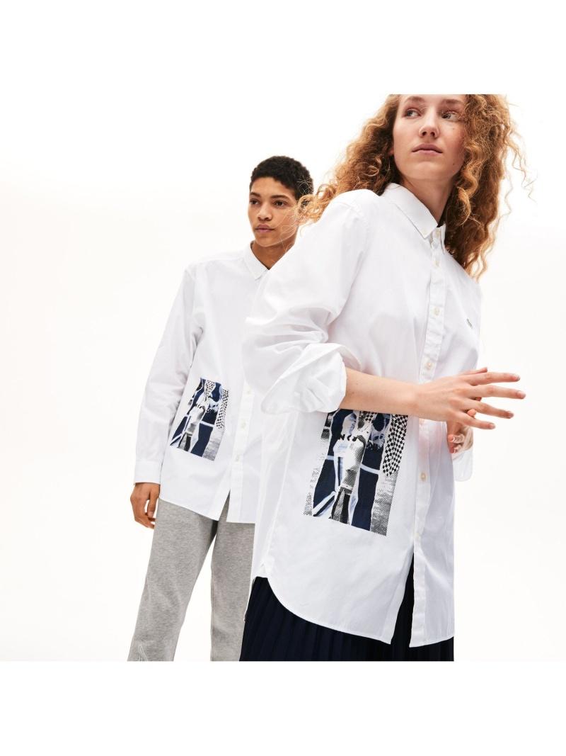 【SALE/30%OFF】LACOSTE ユニセックスプリントデザインボタンダウンシャツ ラコステ シャツ/ブラウス 長袖シャツ【RBA_E】【送料無料】