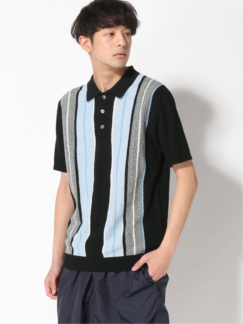BEAMS MEN B+KnitPoloStripe ビームス メン カットソー ポロシャツ ブラック ネイビー カーキ【送料無料】