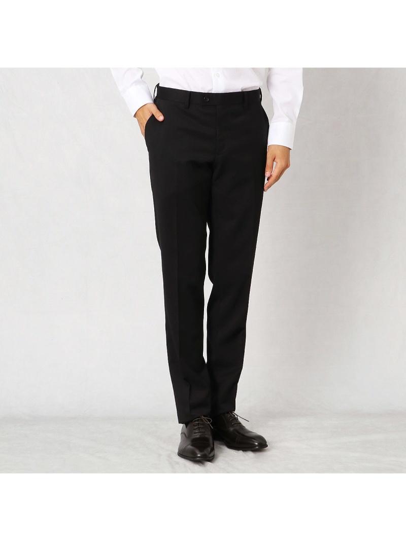 COMME CA MEN ストレッチギャバセットアップパンツ コムサメン ビジネス/フォーマル セットアップスーツ ブラック【送料無料】