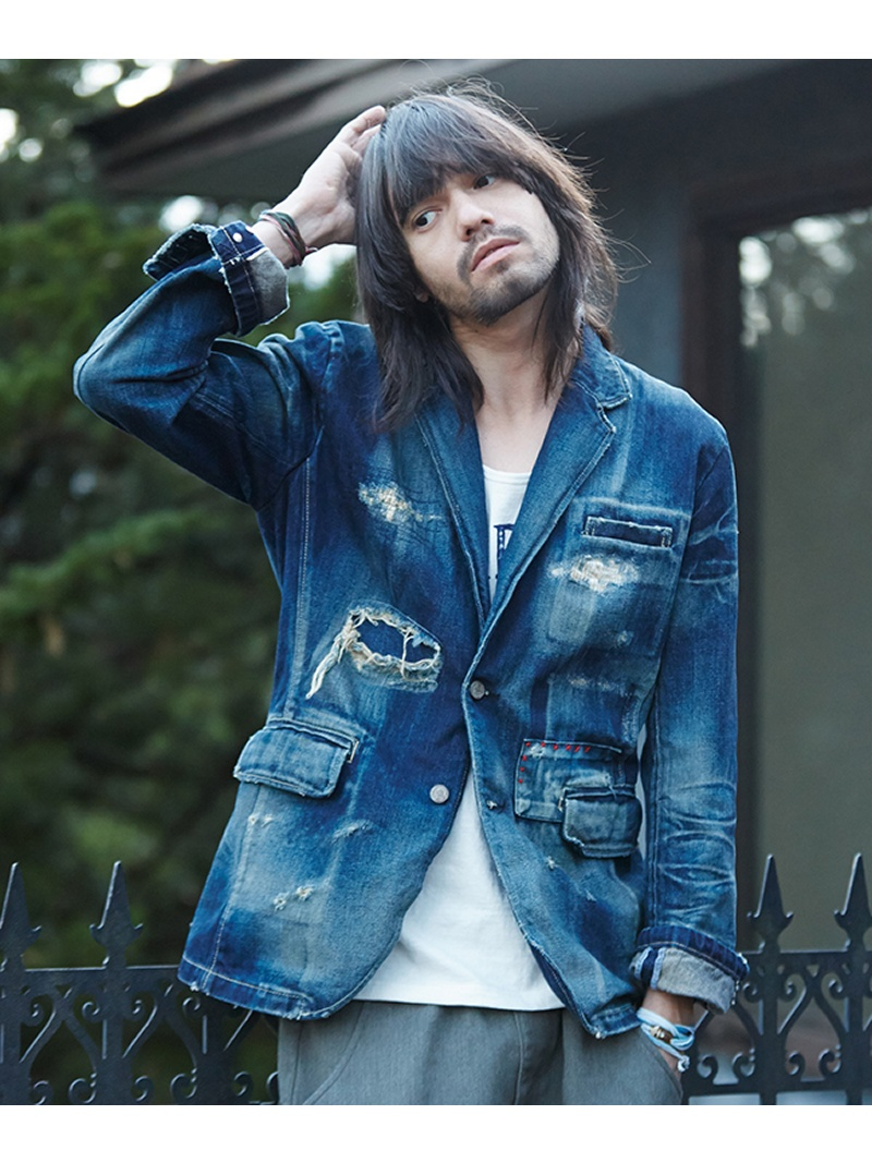 SALE 40 OFF glamb Grunge denim JKT グラム コート ジャケット デニムジャケット ブルー RBA E送料無料gyfb76