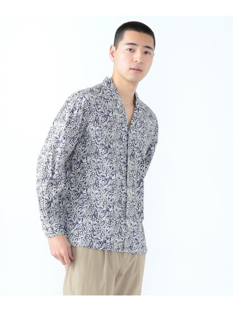SHARE PARK 〈LIBERTY〉レギュラーカラーシャツ シェアパーク シャツ/ブラウス 長袖シャツ ネイビー ブラウン【送料無料】