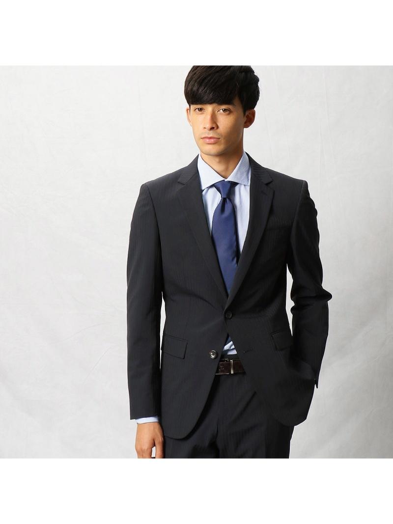 COMME CA MEN ポリストカラーストライプセットアップジャケット コムサメン ビジネス/フォーマル セットアップスーツ ネイビー ブラック【送料無料】