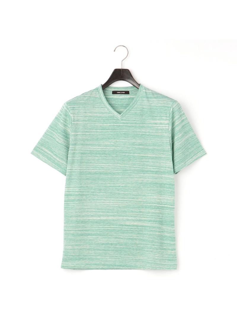 COMME CA MEN 杢調ボーダー半袖Tシャツ コムサメン カットソー Tシャツ グリーン グレー ブルー【送料無料】