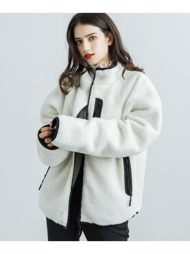 Nylaus Nylaus/(U)ボアジャケット オーバーサイズ フリース リバーシブル ロッキーモンロー コート/ジャケット ブルゾン ホワイト ネイビー パープル ブラック ベージュ【送料無料】: Fashion Men