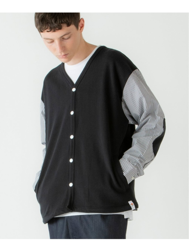 rehacer Fusion Stripe Cardigan Made in Japan レアセル カットソー カットソーその他 ブラック グレー ネイビー【送料無料】