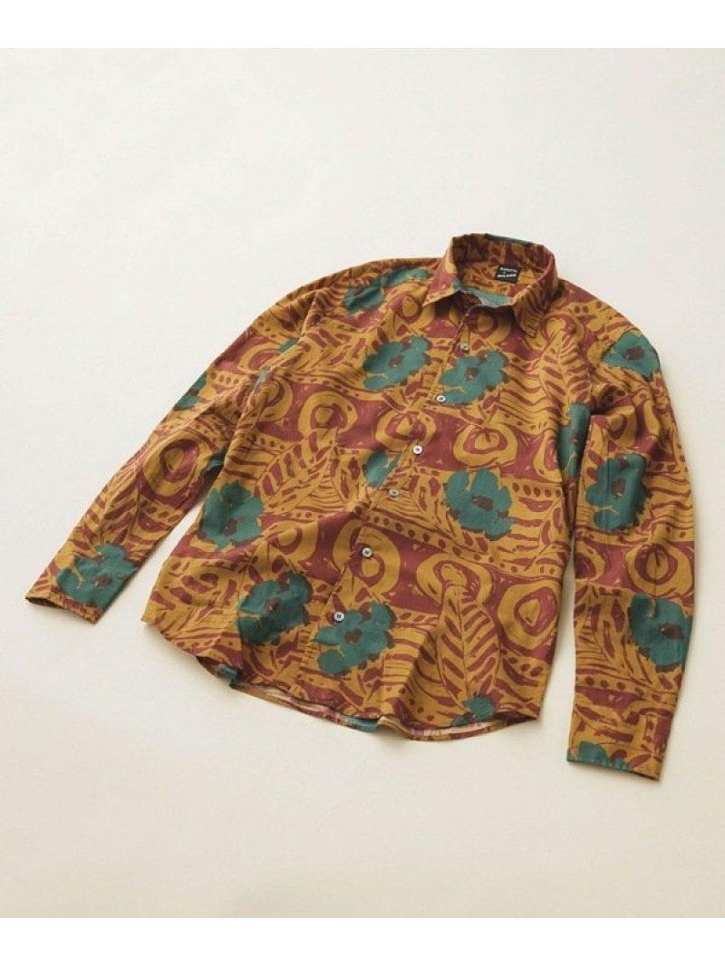 【SALE/50%OFF】BAGUTTA プリントオープンカラーシャツバティック ナノユニバース シャツ/ブラウス シャツ/ブラウスその他 ブラウン【RBA_E】【送料無料】
