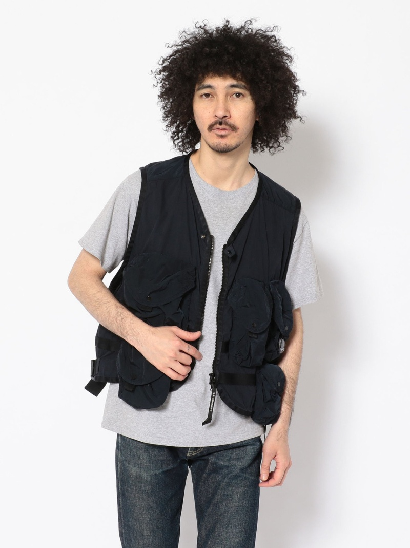 UNCUT BOUND C.P.COMPANY(シーピーカンパニー)フィッシングベスト/Outerwear-Vest アンカットバウンド コート/ジャケット ベスト ネイビー【送料無料】