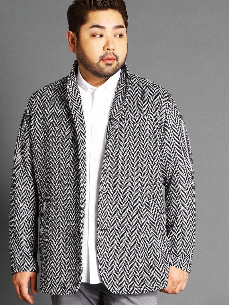 HIDEAWAYS(大きいサイズ) <大きいサイズ>ヘリンボン素材スタンドデザインジャケット ニコル コート/ジャケット【送料無料】
