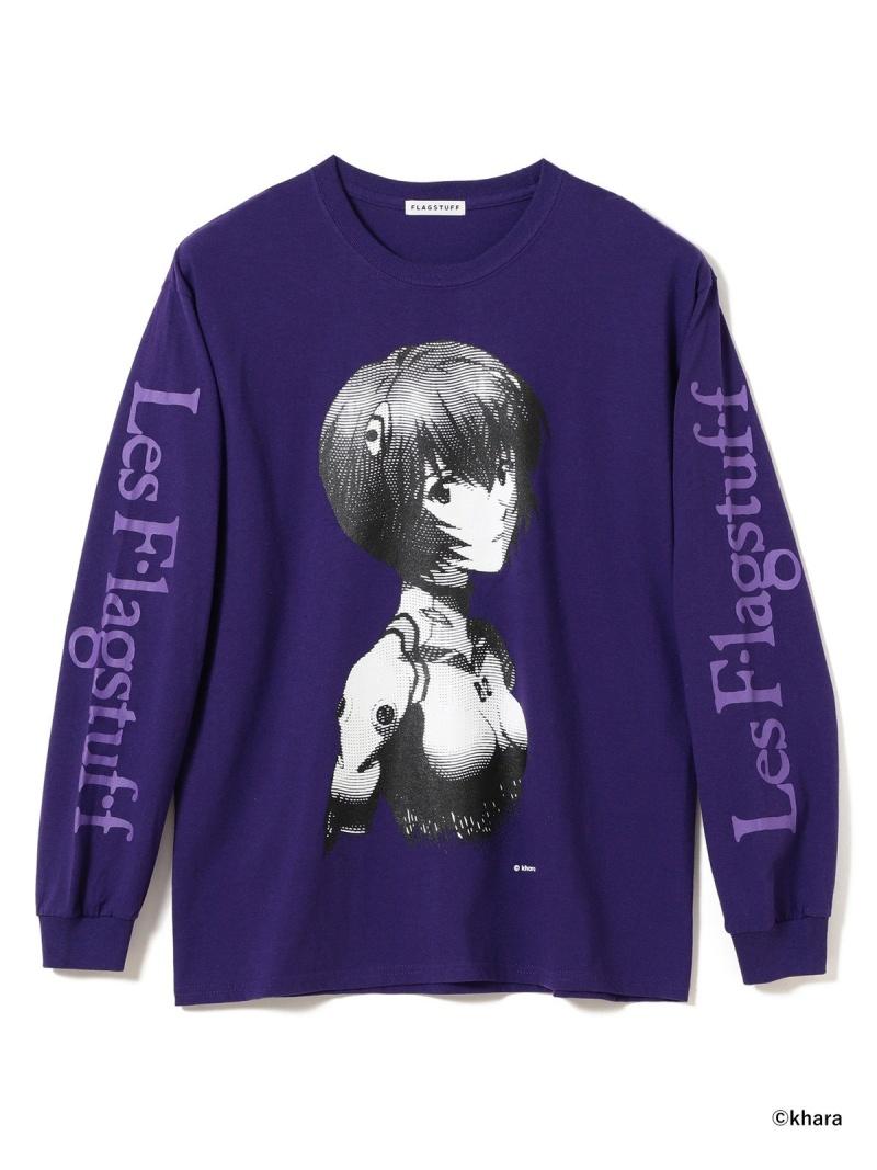 BEAMS T F-LAGSTUF-F × EVANGELION / ロングスリーブ Tシャツ 1 ビームスT カットソー Tシャツ パープル ホワイト ブラック【送料無料】