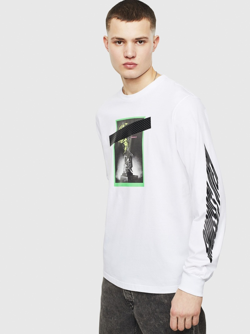 【SALE/40%OFF】DIESEL T-JUST-LS-T13 ディーゼル カットソー Tシャツ ホワイト【RBA_E】【送料無料】