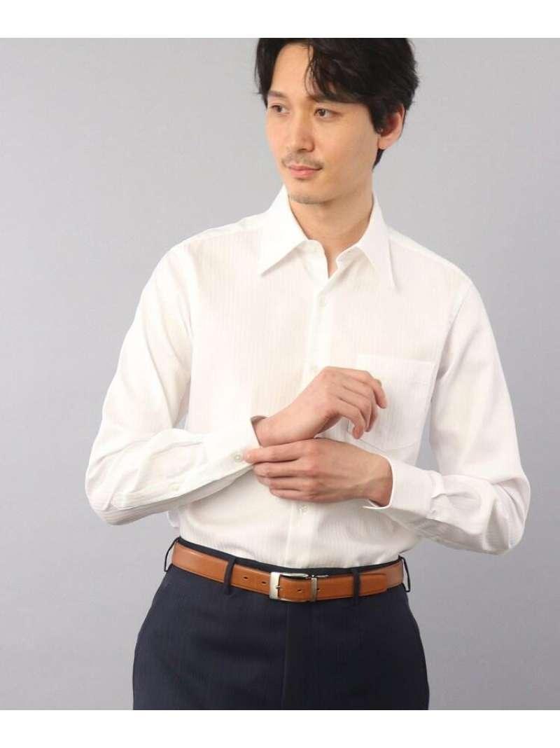 TAKEO KIKUCHI ドビーストライプビジネスシャツ タケオキクチ シャツ/ブラウス シャツ/ブラウスその他 ホワイト グレー【送料無料】
