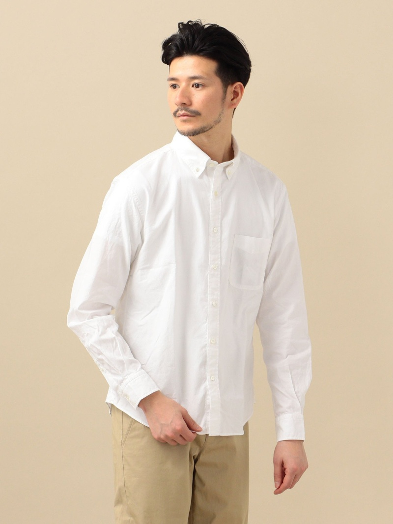 SHIPS SC:ペルヴィアンピマオックスフォードソリッドボタンダウンシャツ シップス シャツ/ブラウス 長袖シャツ ホワイト ブルー【送料無料】