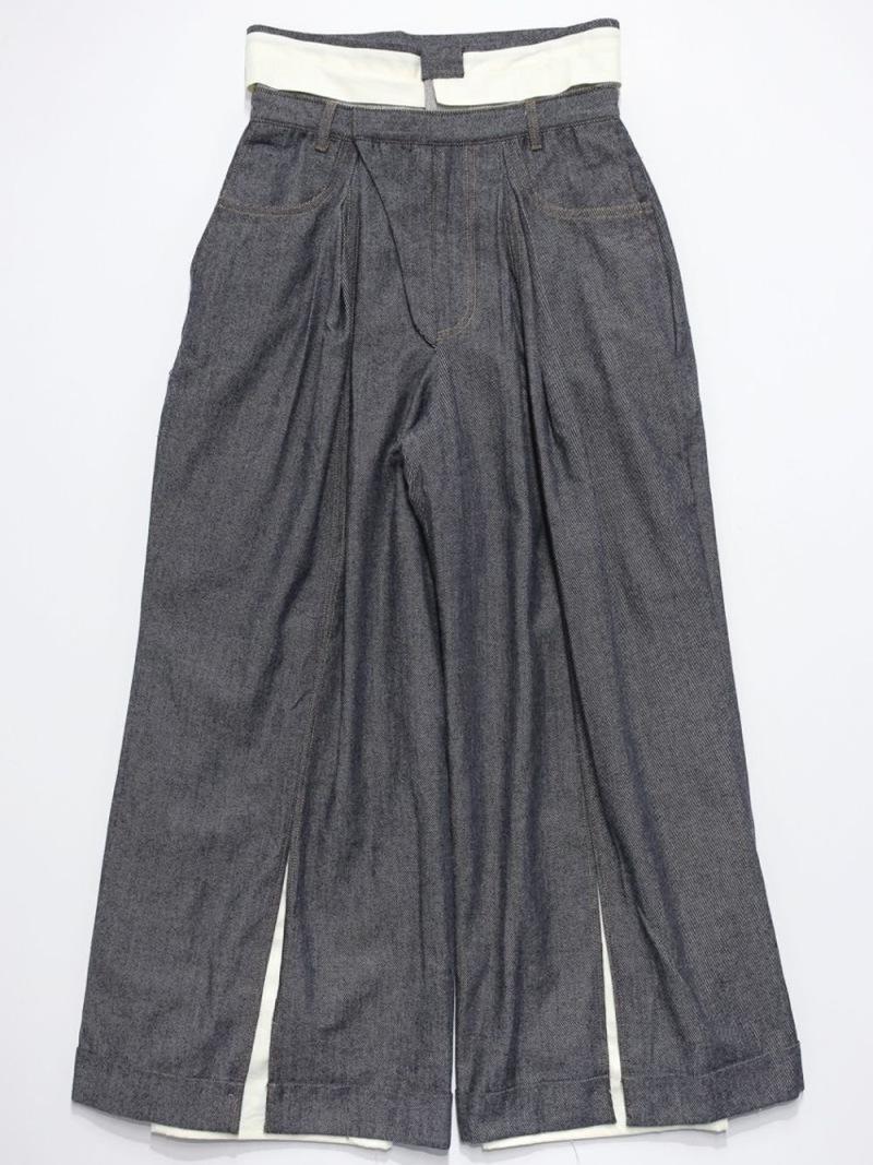 RequaL〓 Denim Wool Slit Slacks Pants シーナウトウキョウ パンツ/ジーンズ フルレングス ブルー【先行予約】*【送料無料】